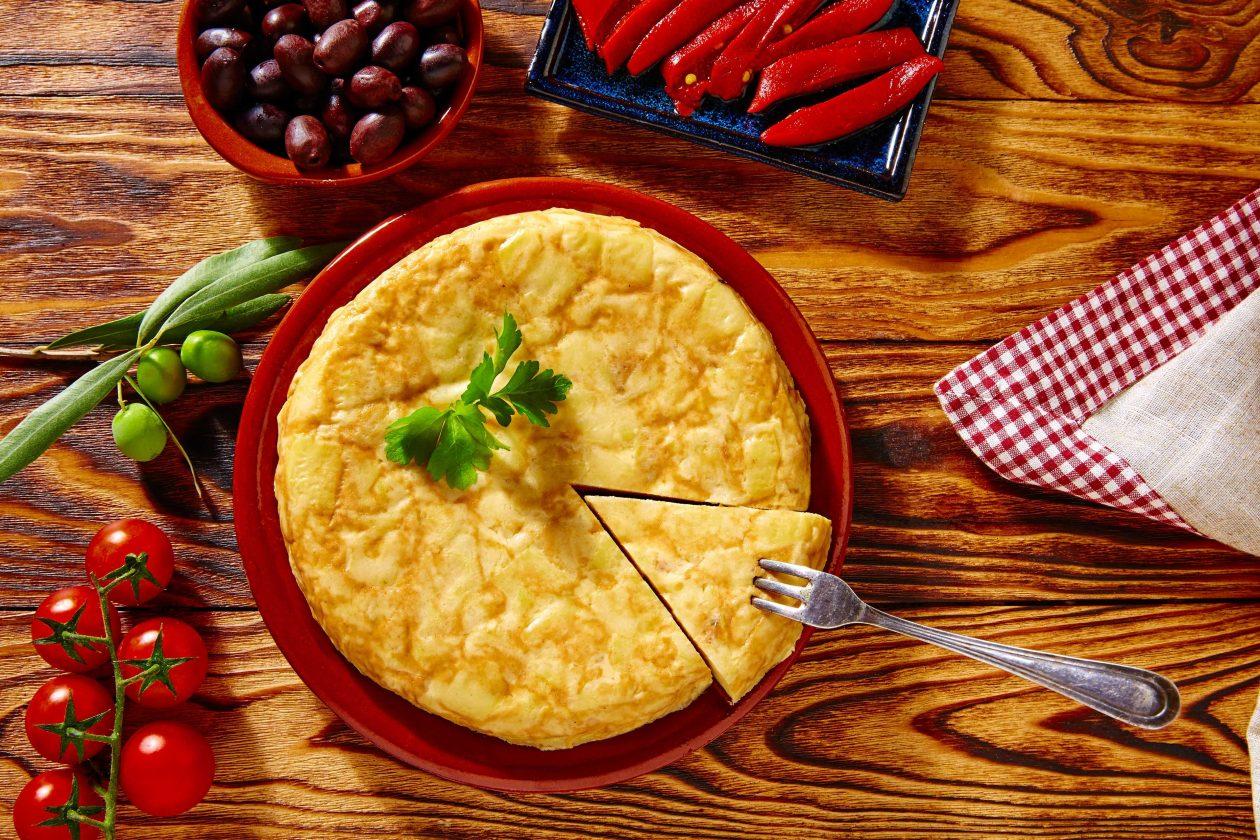 Tortilla de patatas con aceite de oliva virgen extra goya