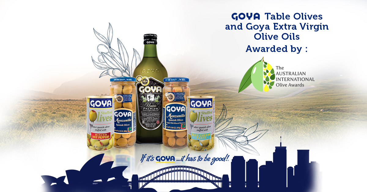Goya Olive Oils and Table Olives, awarded by the Australian International Olive Awards