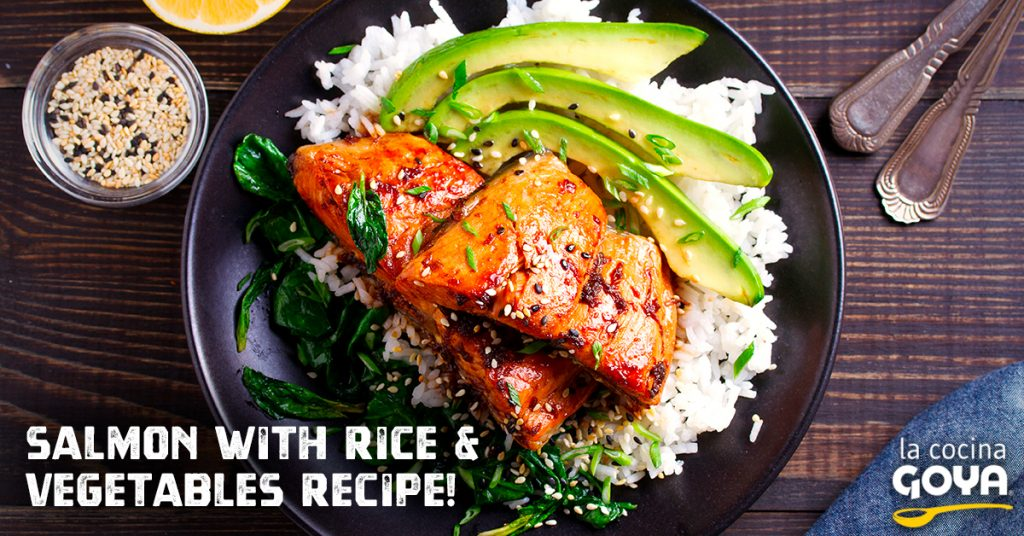 Salmon with rice & vegetables recipe!