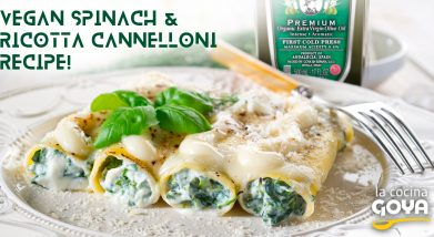 vegan spinach and ricotta cheese-canelones de espinaca