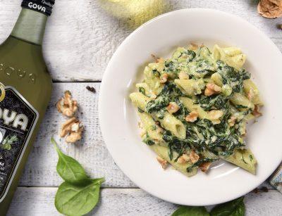 Pasta penne con espinacas y nueces | spinach walnut penne recipe